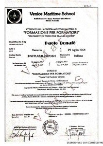 Bonafe Paolo - VEMARS - Attestato Corso di Formazione per Formatori