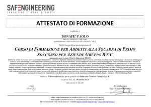 Bonafe paolo Corso squadra 1 soccorso Aziende gr B+C