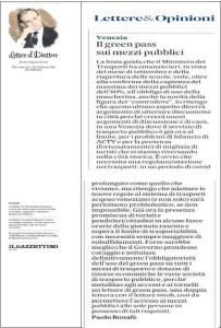 Gazzettino - 2021-08-26 Lettera su green pass